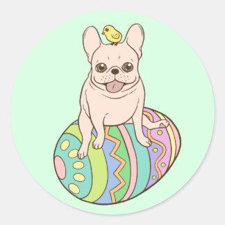 Frenchie y polluelo de Pascua en el huevo de Pegatina Redonda