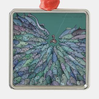 Frenesí de la alimentación de pescados ornamento adorno cuadrado plateado