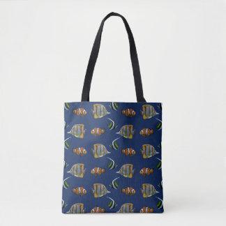 Frenesí tropical de los pescados por todo el bolso
