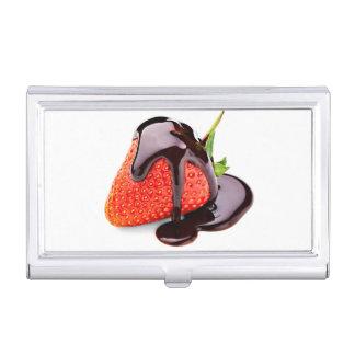 Fresa del chocolate caja para tarjetas de visita