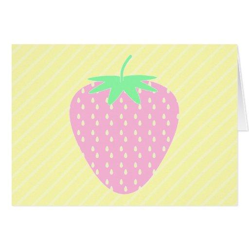Fresa rosada bonita en rayas amarillas tarjetas