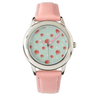 Fresa y flores de Kawaii Reloj De Pulsera