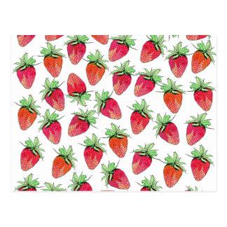 Fresas con sabor a fruta de la acuarela colorida postal