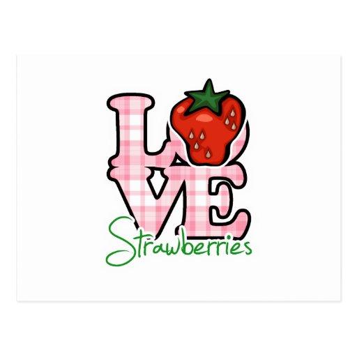 Fresas del amor tarjeta postal