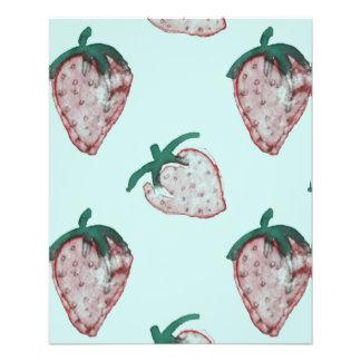 Fresas rosadas tejadas en fondo de los azules folleto 11,4 x 14,2 cm