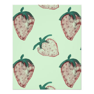 Fresas rosadas tejadas en verde menta folleto 11,4 x 14,2 cm