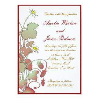 Fresas salvajes que casan la invitación invitación 12,7 x 17,8 cm