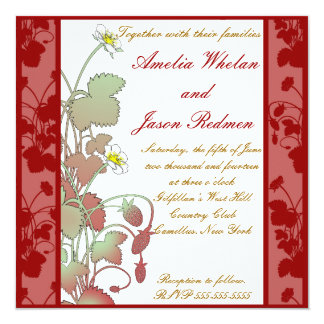 Fresas salvajes que casan la invitación invitación 13,3 cm x 13,3cm