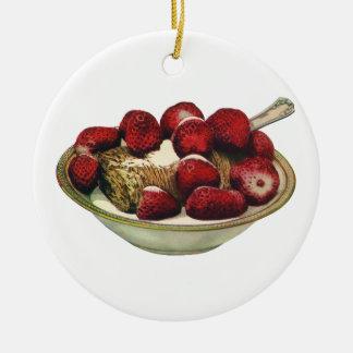 Fresas sanas del cereal de desayuno de la comida adorno redondo de cerámica