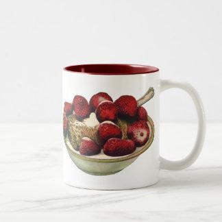 Fresas sanas del cereal de desayuno de la comida d tazas de café