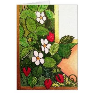 Fresas tempranas de la primavera tarjeta pequeña