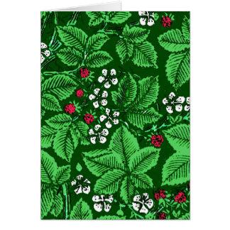 Fresas y hojas, verde esmeralda de Nouveau del Tarjeta Pequeña