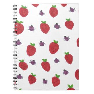 Fresas y señora Bugs Fruity Pattern Cuaderno