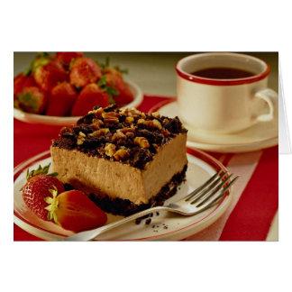 Fresas y torta deliciosas tarjeta de felicitación
