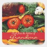 Fresco de la cocina de las etiquetas vegetales del