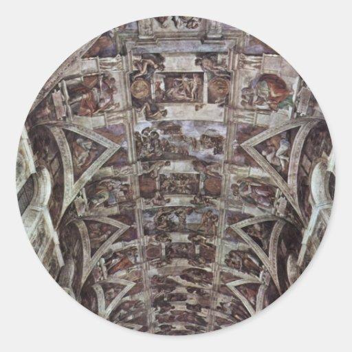 Fresco del techo para la historia de la creación e pegatina redonda