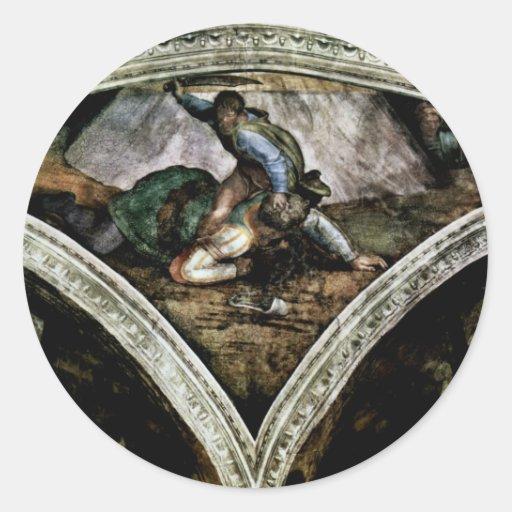 Fresco del techo para la historia de la creación pegatina redonda