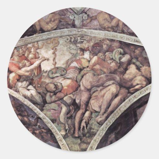 Fresco del techo para la historia de la creación etiqueta redonda