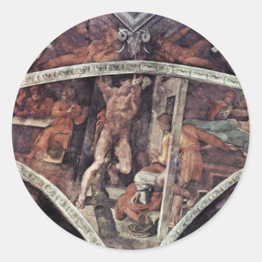Fresco del techo para la historia de la creación pegatinas redondas