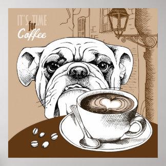Fresco es hora para el diseño de la cita del café póster