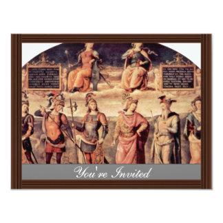 Frescos en el Sala D'Udienza el Collegio Del Ca Invitación 10,8 X 13,9 Cm