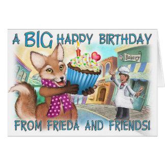 Frieda ata la tarjeta de cumpleaños