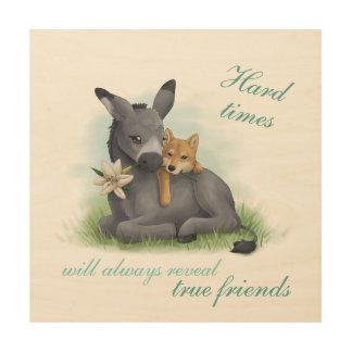 Friendship Shiba Donkey - & Kunstdruck Impresión En Madera
