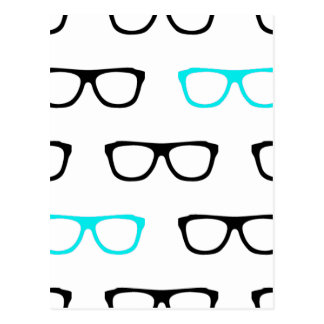 friki geeky del azul de los vidrios postal