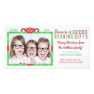 Frikis divertidos de la foto de familia del día de tarjetas personales