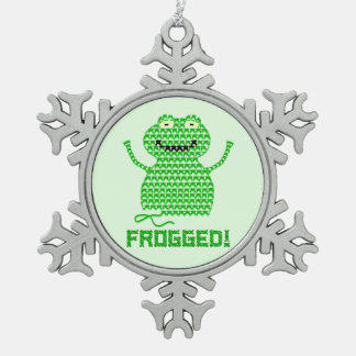 ¡Frogged! Rana del ganchillo del vector (fondo ver Adornos