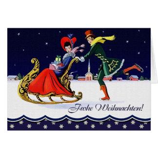 Frohe Weihnachten. Tarjeta alemana del estilo del