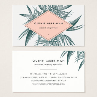 Fronda tropical de la palma tarjeta de negocios