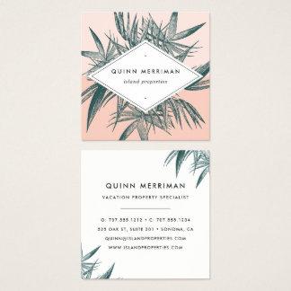 Fronda tropical de la palma tarjeta de visita cuadrada