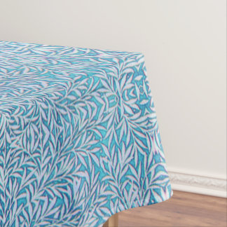 Frondoso azul y blanco mantel