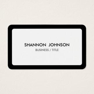Frontera blanca y negra redondeada mínima tarjeta de visita