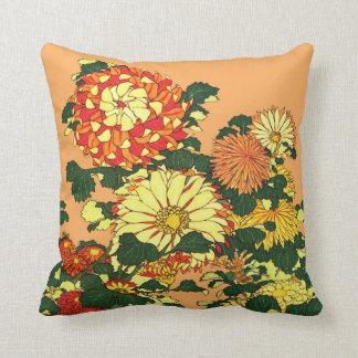 Frontera de la flor, mandarina y oro japoneses cojín decorativo