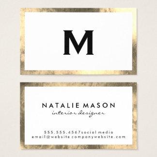 Frontera de oro elegante del monograma falsa tarjeta de visita