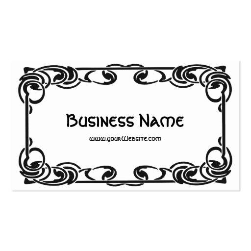 Frontera decorativa negra elegante retra de Nouvea Tarjeta De Visita