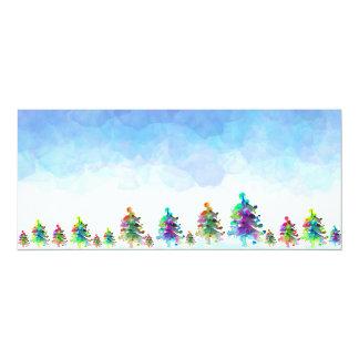 Frontera del árbol de navidad invitación 10,1 x 23,5 cm