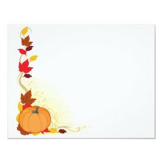 Frontera del otoño de la calabaza invitación 10,8 x 13,9 cm