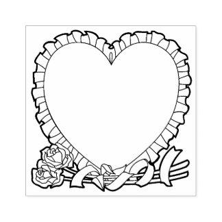 Frontera en forma de corazón para su mensaje sello de caucho