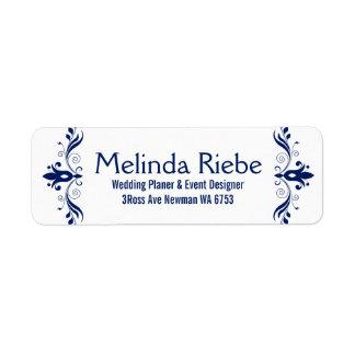Frontera floral azul marino de los remolinos etiqueta de remitente