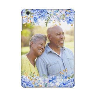 Frontera floral de la foto del Hydrangea azul