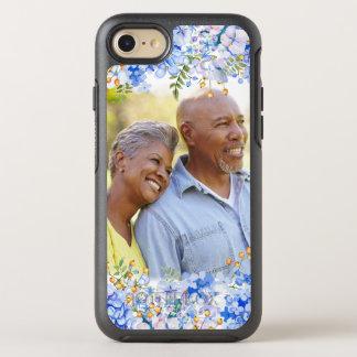 Frontera floral de la foto del Hydrangea azul Funda OtterBox Symmetry Para iPhone 7
