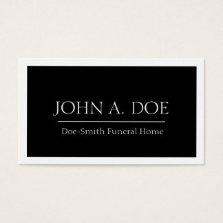 Frontera negra/blanca del director de funeraria tarjeta de negocios