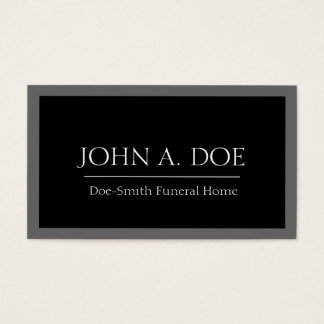 Frontera negra/gris del director de funeraria tarjeta de negocios