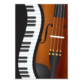 Frontera ondulada de los teclados de piano con la invitación 8,9 x 12,7 cm