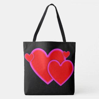 Frontera rosada púrpura roja de los corazones del bolsa de tela