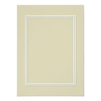 Frontera sombreada blanca doble en verde de musgo invitación 13,9 x 19,0 cm