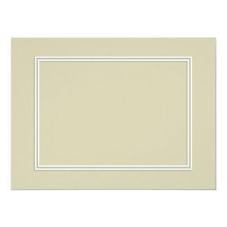 Frontera sombreada blanca doble en verde de musgo invitación 16,5 x 22,2 cm